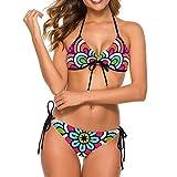 Traje de baño de dos piezas de talle alto, bikini tropical, control de barriga, tankini Hx20014. S