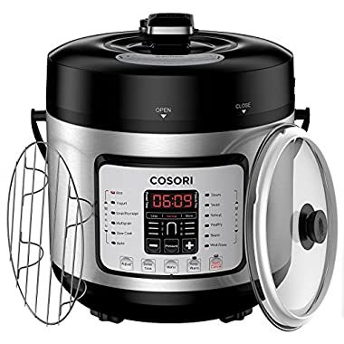 COSORI 6 Qt 7-in-1 Multi-Functional Programmable Pressure Cooker, Slow Cooker, Rice Cooker, Yogurt Maker, Sauté, Steamer & Warmer, Include Glass Lid, Sealing Ring and Recipe Book, 1000W
