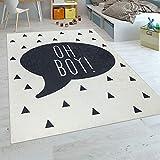 Paco Home Kinderteppich Kinderzimmer Jungen Babyteppich Waschbar Spruch Trend Schwarz Weiß, Grösse:80x150 cm