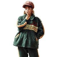 厚みのあるパジャマ女性プラスフランネルホームサービススーツMグリーン