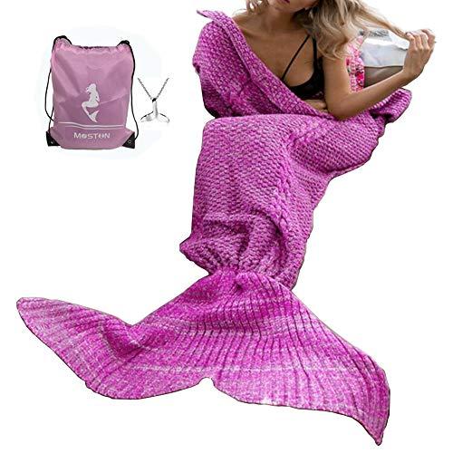 Moens Kuscheldecke, Design: Meerjungfrauen-Schwanz, weich und warm Purple Pink-Adult