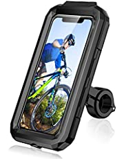 "LUROON Soporte Móvil Bicicleta Moto Impermeable Universal Pantalla Táctil Sensible 360°Rotación Anti Vibración Soportes para Moto Bici para Smartphones y Otro 4.5-6.8"" Móvil (Negro, L)"