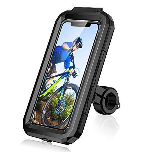 LUROON Soporte Móvil Bicicleta Moto Impermeable Universal Pantalla Táctil Sensible 360°Rotación Anti Vibración Soportes para Moto Bici para Smartphones y Otro 4.5-6.8' Móvil (Negro, M)