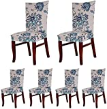 SoulFeel 6 x Soft Spandex Fit Stretch Short Dining Room Chair Covers with Printed Pattern, Banquet Chair Seat Protector Slipcover for Home Party Hotel Wedding Ceremony (Style 5)
