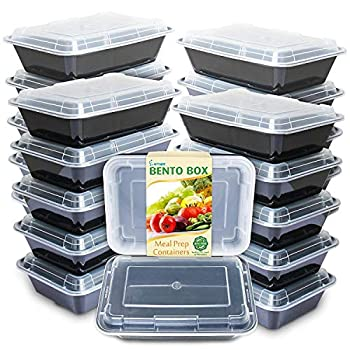 Enther Meal Prep Containers Single Lids Food Storage Bento BPA Free   Stackable   Reusable Lunch Boxes Microwave/Dishwasher Freezer Safe,Portion Control  28 oz  20 Pack 1 Compartment