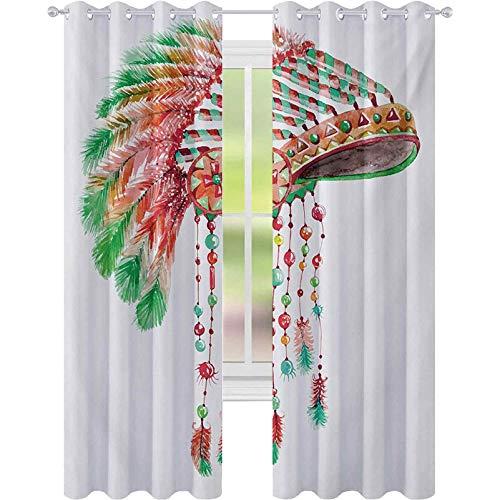Cortinas de bloqueo de luz, disfraz de jefe tribal, tocado nativo americano, smbolo de la cultura de la ciudad, cortinas de 52 x L95 para habitacin de beb, bermelln naranja verde