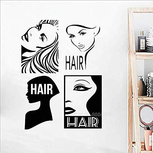 Creative Art Vinyl Pegatina de pared Peluquería pared ventana calcomanía pegatina estilista herramientas de peluquería tijeras peluquería calcomanía 67x91cm