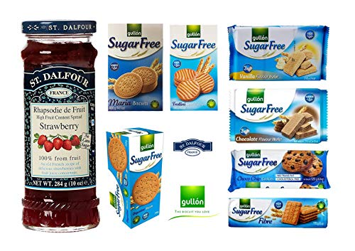 Gullon Zuckerfreie Kekse, 7 Stück mit St. Dalfour Erdbeer-Marmelade 1 Flasche Vorteilspackung