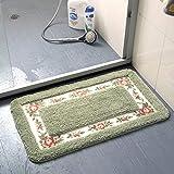 ZDNko Tappeto antiscivolo hroom in stile rurale set da cucina per cucina hroom multi-size set tappetino antiscivolo per doccia bagno con pavimento in moquette decorazione toilette - verde, 40x60cm