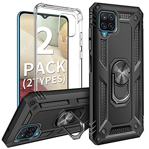 AROYI (2 Styles Case Funda Compatible con Samsung Galaxy A12, Armor Carcasa con 360 Grados Anillo iman y Carcasa Suave TPU Silicona Airbag Anti-Choque - Negro/Clear