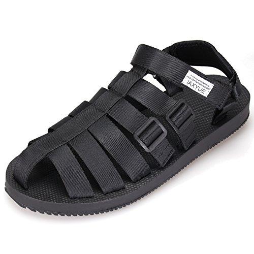 Roman Sandals Men Summer Casual Baotou Fashion Beach Sandals (9.5, Black)