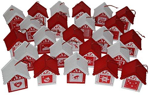 Megashop 2000 Adventskalender Weihnachtsdorf aus Holz mit 24 Häuschen Zum Befüllen