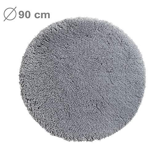 PANA Flauschige Hochflor Badematte Rund in versch. Farben und Größen | Badteppich aus weichen Mikrofasern - rutschfest & waschbar | Duschvorleger Ø 90 cm