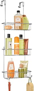 mDesign Metal Over Shower Door Caddy, Hanging Bathroom Storage Organizer Center with Built-in Hooks and Baskets on 3 Level...