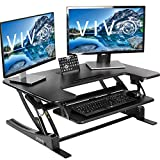 VIVO Black Height Adjustable 36 inch Stand up Desk Converter Quick Sit to Stand Tabletop Dual Monitor Riser (DESK-V000V)