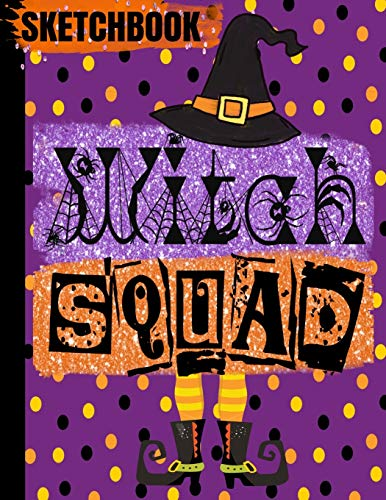 SKETCHBOOK: Halloween WITCH Books/WITCH SQUAD Purple Black Witches Hat Faux Glitter/Art Blank Drawing Pad/Scrapbook for Doodling/Sketching ... Cover/8.5