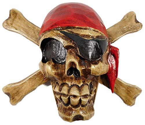 N / A Totenschädel Schild mit Kopftuch 22 x 16 cm Schild Pirat Totenkopf Schädel Holz/handbemalt und handgeschnitzt Figur Deko E2