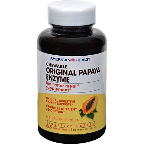 American Health Original Papaya Enzyme Chewable - Packaging Varies - 250 Vegetarian Tablets (Pack of 2)