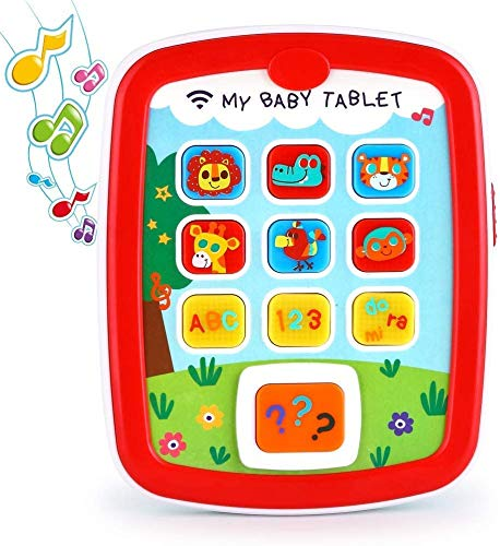 Baby Tablet Music Toy Pad - Early Educational Learning Toys for Infant 6 Months + with Light & Music Travel Toys Learning Tablet with Easy ABC Games, Numbers & Color for Toddlers Infants 6M-12M 18M+