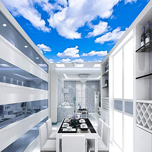 Blauer Himmel Weiße Wolken Moderner Stil Einfarbig Feuchtigkeit Decke Tapetenbahn Restaurant Wohnzimmer Wand Papel De Parede-400 * 280 cm