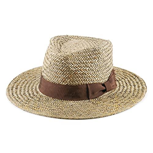 ZERTRUE Straw Panama Hat Fedora Beach Sun Hat Wide Brim Summer Hat UPF UP50+ for Both Women Men