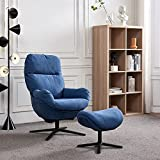 360 Swivel Lounge Chair with Ottoman, Recliner Leisure Armchir w/Rocking Footstool, Comfy Upholstered Lazy Reading Single Sofa Club Chair, Aluminium Alloy Base, 330 lbs Weight Capacity (Blue)