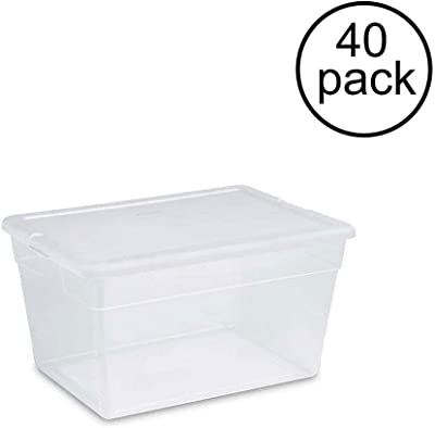 56 Quart Clear Bin Home Storage Tote Box with Lid, 40 Pack with ebook