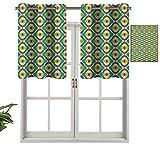 Cenefas de cortina con ojales para ventana, diseño Groovy Bauhaus, diseños artísticos, geométricos, minimalistas, retro, azulejos inusuales, juego de 1, 137 x 45 cm para ventana de cocina