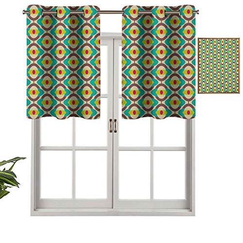 Cortina opaca con ojales, diseño de Bauhaus con motivos geométricos y minimalistas, estilo retro, 1 unidad, 127 x 45 cm para dormitorio y sala de estar