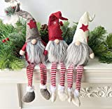 Houwsbaby 3 Pcs Handmade Gnome Figurines Long Leg Plush Swedish Tomte Nisse Sitting Christmas Elf Home Desktop Collectible Doll Stuffed Decor Holiday Party Supplies Table Ornament, 18.5''