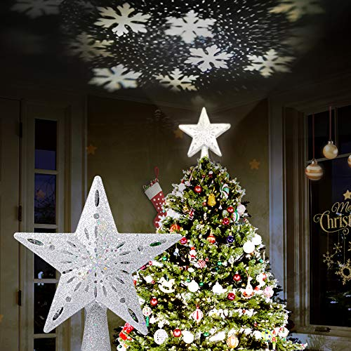 AOYOO Christmas Tree Topper Lighted Star with LED Rotating Snowflake Projector,Christmas Tree Ornaments,3D Glitter Snow Lights Tree Topper for Christmas Tree Decorations