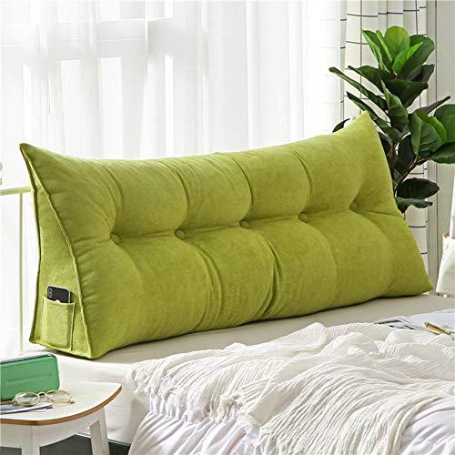 WZR Plüsch Keilkissen Tatamimatte, Abnehmbar Und Waschbar Weicher Rückenstütze Dreieck Zurück Kissen Bett Couch-Gras-grün 200x50x20cm