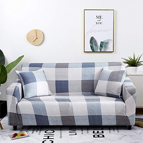 WXQY Funda elástica para sofá a Cuadros, Paquete Completo, Funda de sofá elástica antiincrustante para Sala de Estar, Funda para Silla de sofá A23, 2 plazas