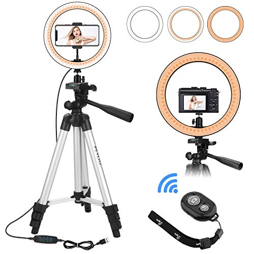 PEYOU Selfie Ring Light with Black Tripod Stand, LED Ring Lights+Aluminum Extendable +Mobile Phone Holder + Tablet Holder+Bluetooth Remote for Makeup/Live Stream/YouTube