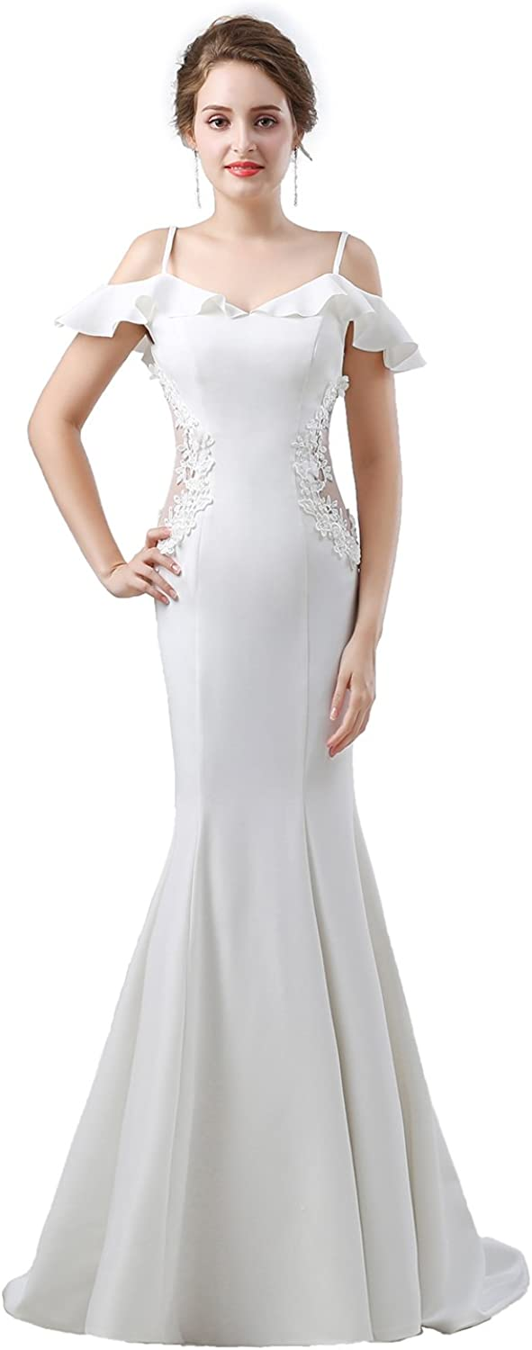 ONLYCE ColdShoulder Applique Mermaid Prom Dress Long Formal Evening Gowns