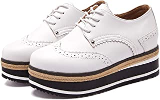AUCDK Women Platform Oxfords Leather Wedge Heel Shoes Vintage Lace Up Flatform Casual Shoes Low Top Ladies Brogues