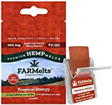 New FARMelts Hemp Strip, Hemp Oil Rapidly Absorbed for Quick Anxiety and Pain Relief, 10mg Hemp Per Melt, Made in The USA (1-Pack, Tropical Energy-with Caffeine)