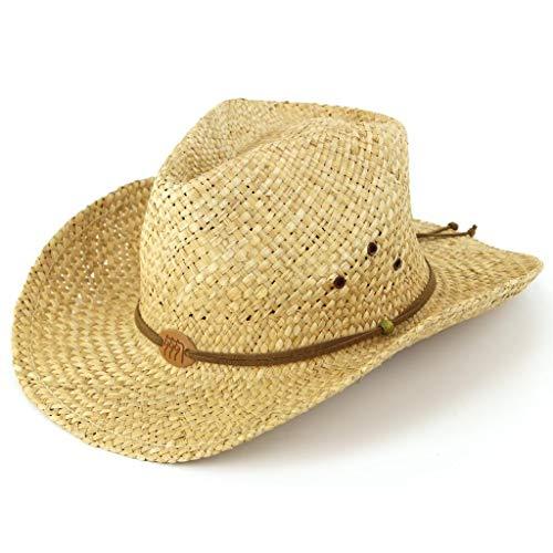 Chapeau de cowboy en paille avec cordon en cuir et badge représentant 3 chevaux Naturel