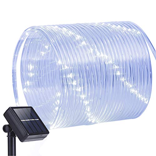 Oak Leaf Outdoor Solar String Lights, 41 Feet 100LED Solar Rope Lights Outdoor Lighting Rope, Waterproof Copper Wire Tube Lights with Solar Panel for Outdoor Indoor Home Garden Patio Parties