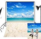 LB 6x9ft Tropical Beach Backdrop Blue Sea Sky Backdrops for Photography Hawaiian Luau Party Decoration Portraits Photo Booth Studio Props