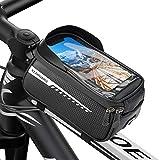 Borsa Telaio Bici, Impermeabile Borsa Manubrio per Biciclette, Borsa Porta Cellulare da Bici con Touch Screen in TPU e Visiera Parasole, Porta Telefono MTB Borsa per Smartphone Sotto 6.5 Pollici
