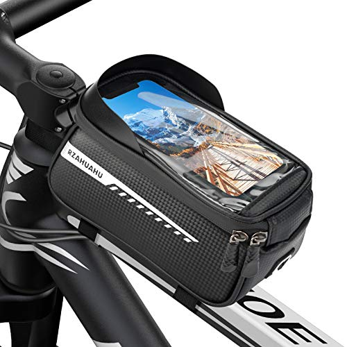 Bolsas de Bicicleta Cuadro, Accesorios Bicicletas para Montaña Impermeable con Pantalla táctil de TPU y Visera, Soporte Movil Bicicleta para iPhone y Smartphones Inteligente por Debajo de 6,5 Pulgadas
