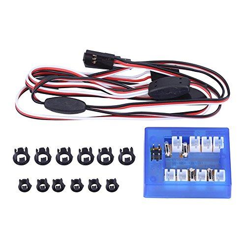Dilwe 12-LED Auto Licht, Montieren Beleuchtung System Kit Simulation Blinklichter für 1/10 RC Auto / LKW / Crawler
