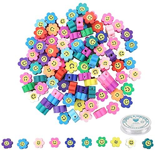milaosk 100 cuentas de cara sonriente, cuentas de arcilla polimérica, cuentas espaciadoras de girasol, color mixto, para hacer joyas, pulseras, collares, clips de pelo, accesorios de 9 x 4,5 mm