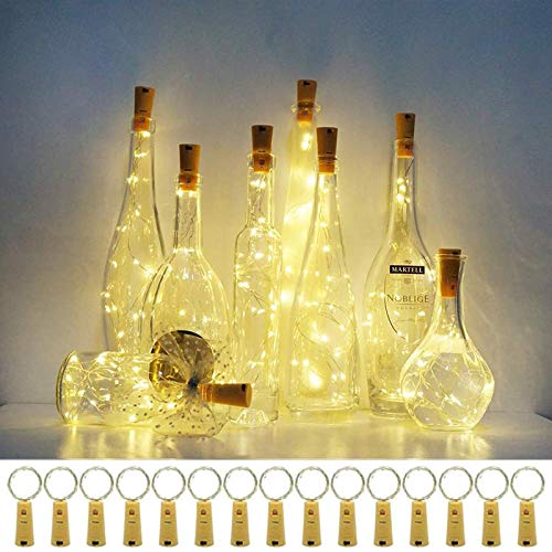 Wine Bottle Lights with Cork,15 Pack Cork Shaped Battery Operated Bottle Light Copper Wire Fairy LED Mini String Lights for DIY Bedroom Party Wedding Indoor Outdoor Decor(Warm White + Extra 9 Battery)