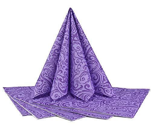 finemark 20 Stück Papierservietten Gemustert in LILA Flieder 40 x 40 cm (0,17€/Stück) Tissue Servietten 3- lagig Hochzeit Geburtstag Dinner Tischdekoration