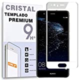 REY Protector de Pantalla Curvo para Huawei P10, Blanco, Cristal Vidrio Templado Premium, 3D / 4D / 5D