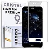 REY Protector de Pantalla Curvo para Huawei P10, Blanco, Cristal Vidrio Templado Premium, 3D / 4D /...