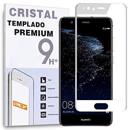 REY Protector de Pantalla Curvo para Huawei P10, Blanco, Cristal Vidrio Templado...