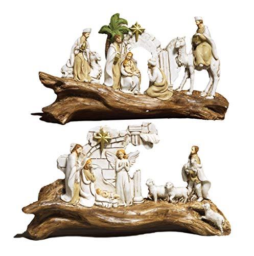Paben Articoli Religiosi 2 Pezzi Presepe Natività da Tavolo su Ramo in Resina Lung. cm. 19 h.cm. 10,5